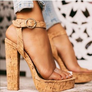 Shoes - Clear Band Corked Platform High Heel